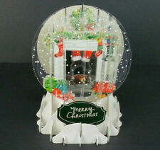 Holiday Mantel Christmas Greeting Card Snow Globe Pop Up Holiday Card