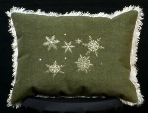 New Embroidered Fluffy Moss Sage Green Snowflake Accent Pillow Christmas Pillow