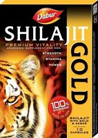 DABUR SHILAJIT GOLD AYURVEDIC SUPPLEMENT BOOSTS STRENGTH,STAMINA & POWER-Free /S