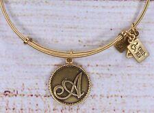 Wind & Fire Letter A Charm Bangle Gold Bracelet