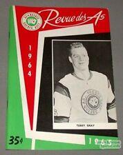 1964-65 AHL Quebec Aces Program Terry Gray Cover