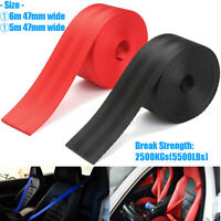 6M 47mm Red & Black Car Seat Belt Webbing Roll Polyester fiber 5 Metres 5500LBs