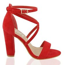 Womens Strappy Sandals Peep Toe Block Heel Ladies Cross Straps Party Prom Shoes