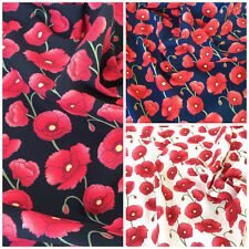 Centenary Poppies, black, navy or ivory 100% cotton fabric per FQ or half metre
