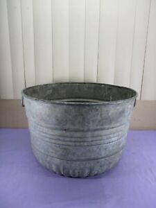 Vintage Metal Galvanized Steel Bushel Wash Tub Planter w/ Carry Handles 9 Gallon