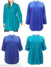 New Woman Within Pintuck Shirts Pure Cotton blouses Roll Sleeves Plus Size 18-32