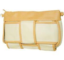 Damen Tasche Handtasche in Leder Optik Beige Weiß aus Marc Chantal Kollektion