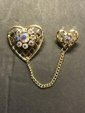 Heart Chain Sweater Brooch Estate-Vintage Goldtone Iridescent Rhinestone Double