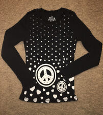 The Childrens Place waffle knit long sleeve school top shirt girl XL 14 black