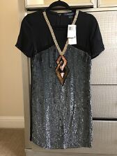 New NWT $248 French Connection FCUK Black Sequin Cocktail Dress S 4