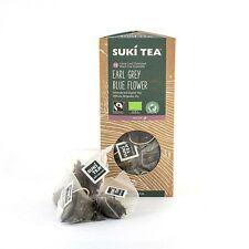 2 confezioni da 15 Suki Earl Grey Blue Flower ETICHETTA PIRAMIDE BUSTINE di tè, Organico Commercio Equo e Solidale