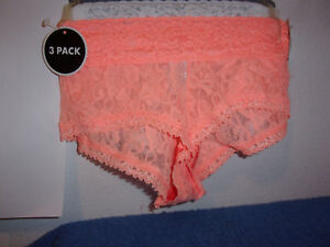 NEW LADY'S NO BOUNDARIES 3-PAC CORAL,WHITE,GREY... LACE HIPSTER PANTIES