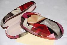 Schönes Brillenetui aus metall, Blumendekor in rot mit Brillenputztuch (7451)