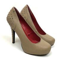 Madeline Stuart Bingo Women's Studded Tan High Heels Slip On Shoes Size 6.5