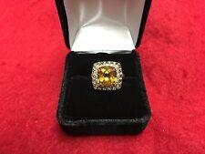 LeVian 14K Yellow Gold Chocolate Diamond White Sapphire Citrine Ring Size 7.25