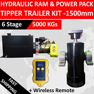 Hydraulic Ram Cylinder with Hydraulic Power pack - Tipper Trailer Kit- 1500 mm