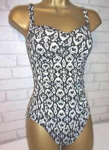 M & S  BLACK &  WHITE  TUMMY CONTROL  RUCHED   SWIMSUIT COSTUME   - SIZE 8