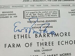 Ethel Barrymore - Autographed Playbill Page