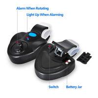 Black Electronic LED Light Fishing Bite Sound Alarm Alert Bell Clip On Fish Rod