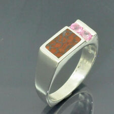 Dinosaur Bone and Pink Sapphires Set in Sterling Silver Ring