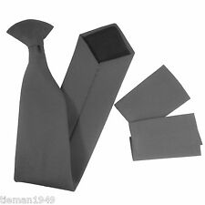 Security Police Safety Workwear Plain Matt CLIP ON Tie with Epaulettes Epaulets