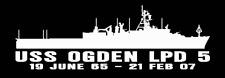 """USS OGDEN LPD 5 Silhouette 4"""" x 12"""" Decals NAVY USN"""