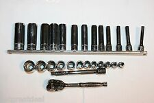"SNAP-ON TOOLS 1/4"" DRIVE METRIC DEEP / SHALLOW SOCKET RATCHET EXTENSION SET 27pc"