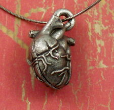 Anatomical Heart Organ Locket Steampunk Sterling Necklace Love Anniversary Gift