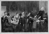 THANKSGIVING DINNER AMONG THE PURITANS, THE OLD DAYS, HISTORY HOLIDAY ENGRAVING