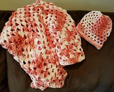 hand crochet beautiful Bernat tiny baby blanket/throw  and hat ( wildflower)