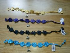 LOT 4 bracelet tissu fleur pendent elephant / création DESTOCKAGE artisanal NEUF