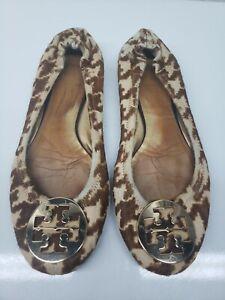 Tory Burch Womens Comfort Leopard Slip On Brown Tan Flat Ballets Size 9 M
