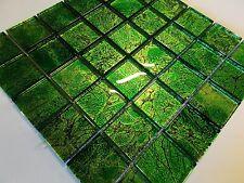 mosaico de vidrio mosaico cristal claro verde intenso efecto metal baño ducha