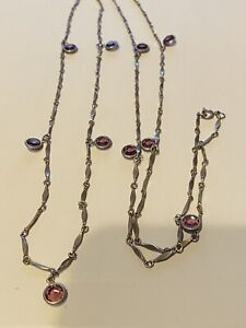 """LONG SILVER TONE FACETED PURPLE CRYSTAL GLASS PENDANT NECKLACE, 50"""" LONG"""