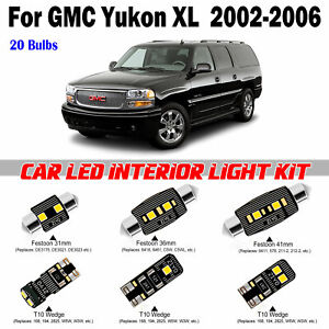 20 bulbs Super White LED Interior Light Kit Package For GMC Yukon XL 2002-2006