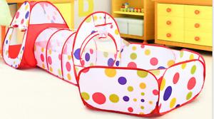 Kinderzelt +Tunnel + Tasche Spielzelt Zelt Bällebad 3-tlg Nylon Mehrfarbig A+