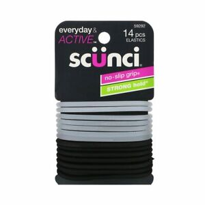 Scunci Silicone Gel Black & Clear Coloured No Slip Hair Bobbles 14 Pieces
