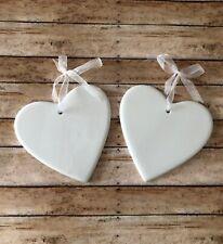 Ceramic White Hearts Sheer Ribbon Set Of 2 Home Nursery Decor