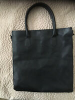 Givenchy Parfums Black Faux Leather with Gusseted Zipper Sides Large Tote Bag