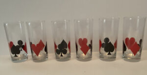 Playing Card Glasses Suit Of Card Poker Night Barware Set 6 Card Lover Gift