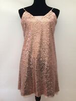 BNWT RRP £50 Next Rose Gold Sixties Sequin Party Strappy Mini Dress Fits 10/12