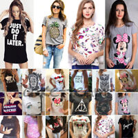 Women Printed Graphic Tee T Shirt Summer Short Sleeve Loose Blouse Top Plus Size