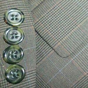 JOS A BANK mens suit GREEN PLAID w/ BLUE RED WINDOW PLEAT FRONT 44R 44 e54 MINT