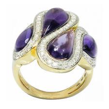 De Buman 18k Yellow Gold 5.32ctw Genuine Amethyst & Diamond Ring, Size 7