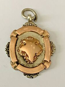 Vintage 1926 Solid Silver  Rose Gold Red Cross Test Pocket Watch Chain Fob Medal