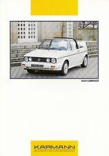 VW GOLF CABRIO Cabriolet Karmann I 1 Prospekt Brochure Sheet P