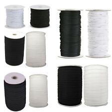 White Black Round Flat Elastic Cord DIY Face Masks Sewing Dressmaking Tailoring