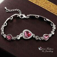 18K White Gold Plated Made With Swarovski Crystal Round Heart Pink Bracelet