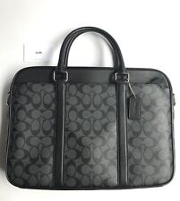 Coach * Men's Bag F54803 CQ/BK Sig Canvas Black Leather Slim Briefcase