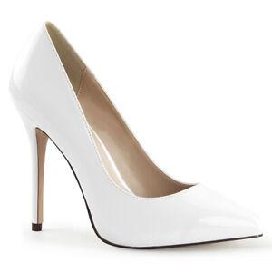 Sale AMUSE-20 Pleaser High-Heels Stilettoabsatz Pumps weiß Lack Übergröße 43